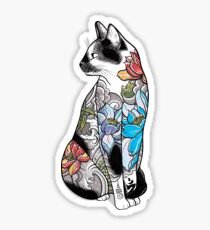 Cat in Lotus Tattoo Sticker