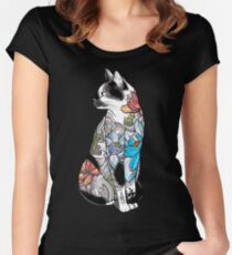 Cat in Lotus Tattoo Women's Fitted Scoop T-Shirt
