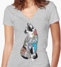 Cat in Lotus Tattoo Women's Fitted V-Neck T-Shirt