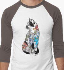 Cat in Lotus Tattoo Men's Baseball ¾ T-Shirt