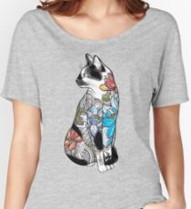 Katze in Lotus Tattoo Baggyfit T-Shirt