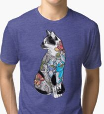 Cat in Lotus Tattoo Tri-blend T-Shirt