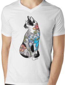 Cat in Lotus Tattoo Mens V-Neck T-Shirt