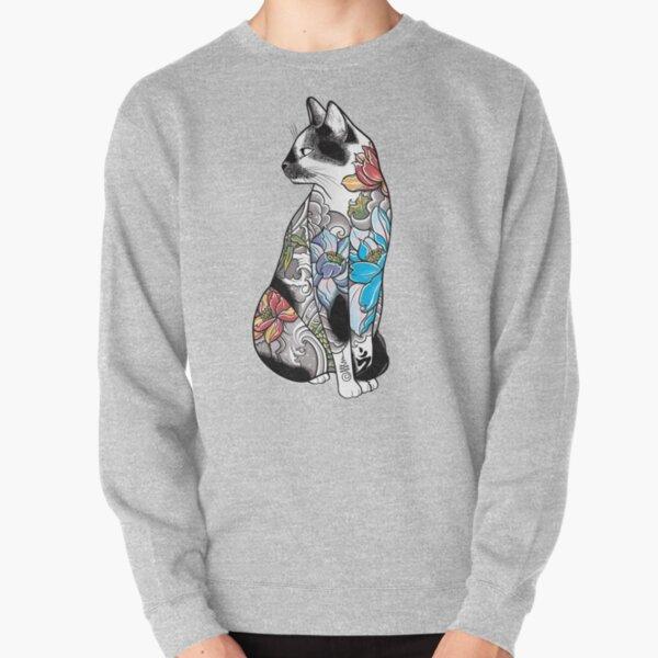 Cat in Lotus Tattoo Pullover Sweatshirt
