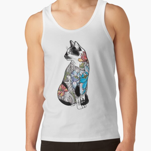 Cat in Lotus Tattoo Tank Top