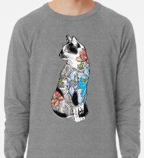 Katze in Lotus Tattoo Leichter Pullover