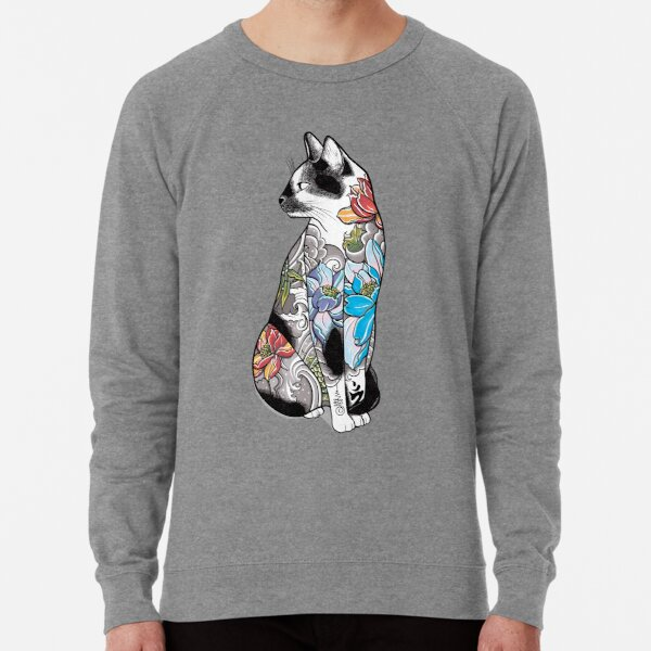 Cat in Lotus Tattoo Lightweight Sweatshirt