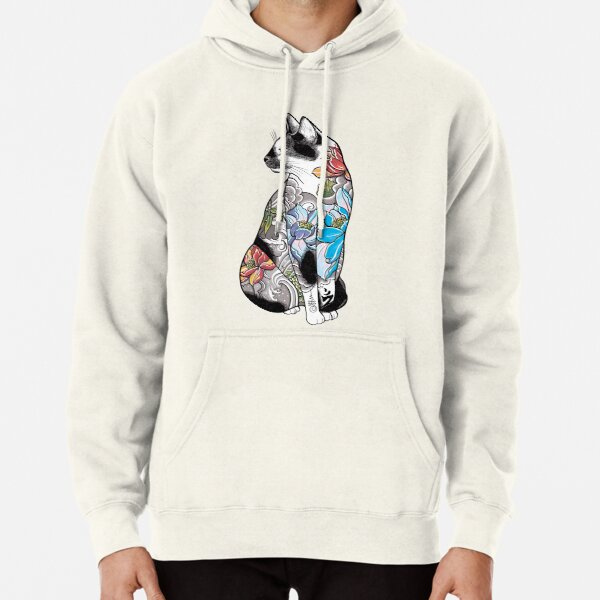 Cat in Lotus Tattoo Pullover Hoodie
