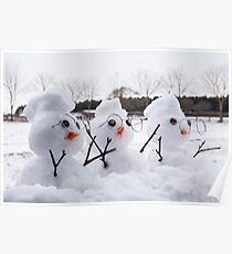 Three cute snowman characters with mohicans Poster