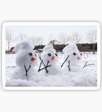 Three cute snowman characters with mohicans Sticker
