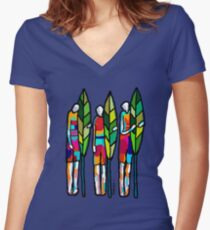 SURFING THE PLANET Women's Fitted V-Neck T-Shirt