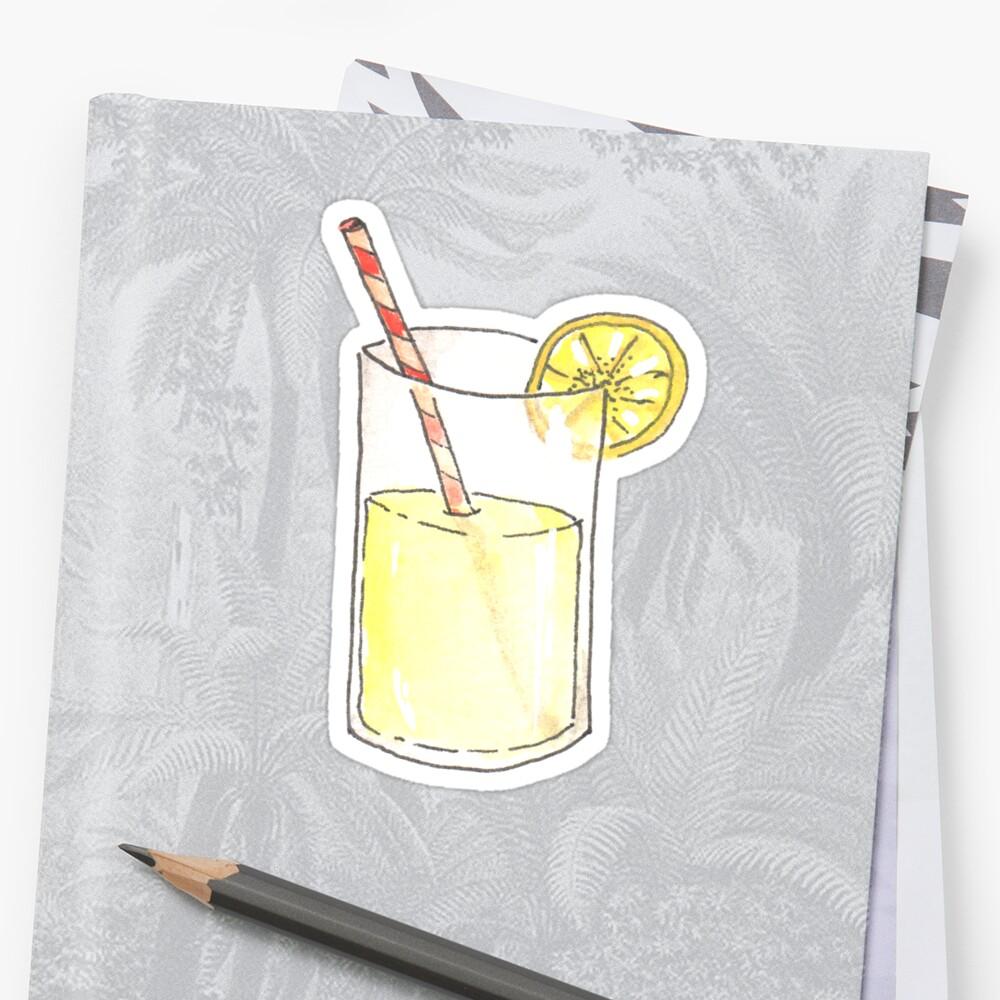 Lemonade Watercolor Illustration Sticker by kimBLiSS