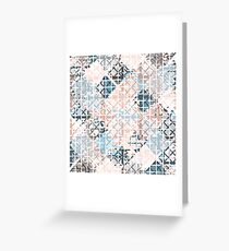 Modern Coral Geometric Square Shape Pattern Greeting Card