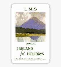 Ireland Donegal Restored Vintage Travel Poster Sticker