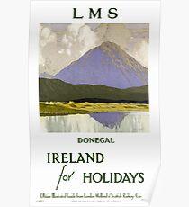 Ireland Donegal Restored Vintage Travel Poster Poster