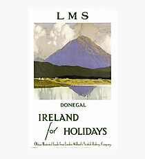 Ireland Donegal Restored Vintage Travel Poster Photographic Print