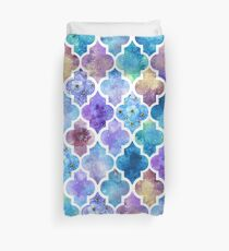 Colorful Watercolor Moroccan Pattern Duvet Cover