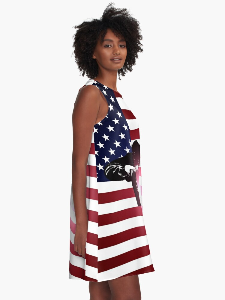 Alternative Ansicht von Schweißen: Schweißer & amerikanische Flagge A-Linien Kleid