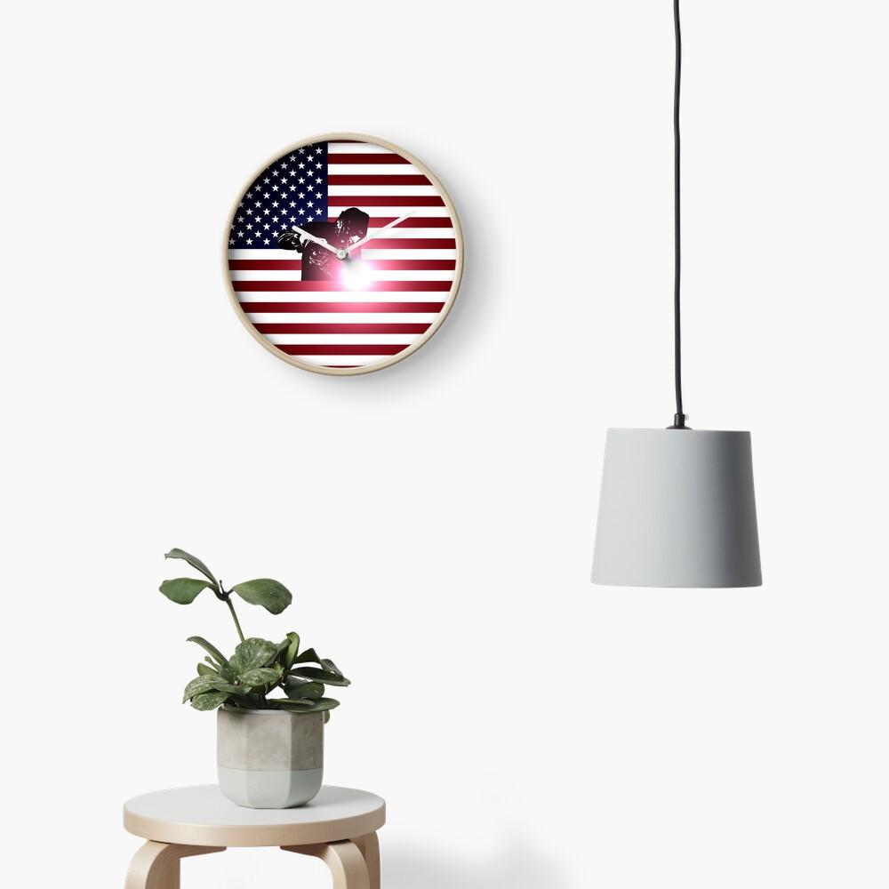 Schweißen: Schweißer & amerikanische Flagge Uhr