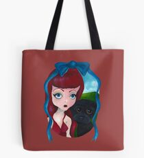 Big Eye Dolly Girl and Dog Painting Tote Bag