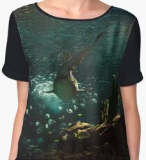 Shark swimming with fishes Chiffon Top