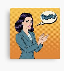 Pop Art Woman Applauding with Expression Bravo Canvas Print