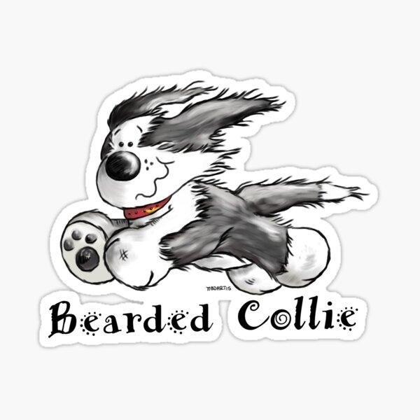 Funny Running Bearded Collie Cartoon Sticker