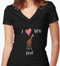 I love you April the Giraffe Women's Fitted V-Neck T-Shirt