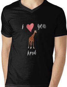 I love you April the Giraffe Mens V-Neck T-Shirt