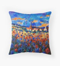 gendron blue poppies  Throw Pillow