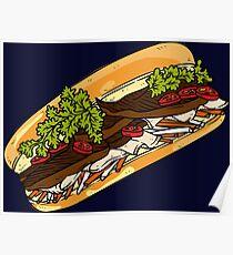 Banh mi- Vietnamese sandwich cuisine asian food bun me Poster