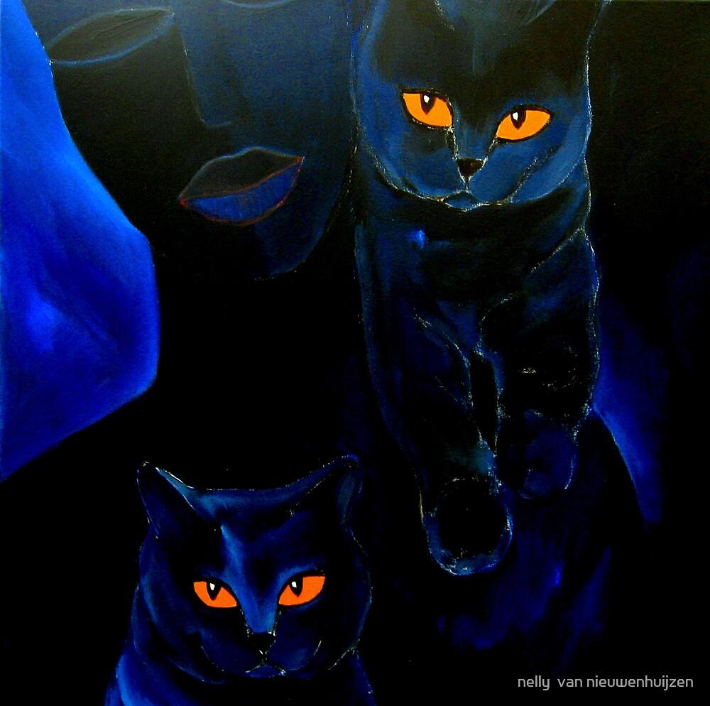 black woman, black cats by nelly  van nieuwenhuijzen
