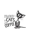 Powered by Cats and Coffee. Scruffy Cat Art. by jitterfly