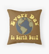 Every Day is Earth Day - Brown & Blue Throw Pillow
