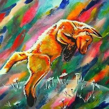 Frisky Fox in Flowers by KateMarieLewis