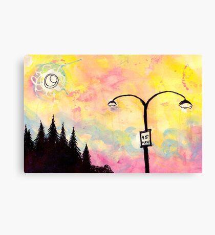 Road signs at dusk Canvas Print
