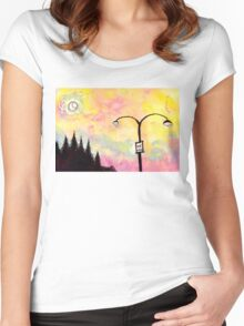 Road signs at dusk Women's Fitted Scoop T-Shirt