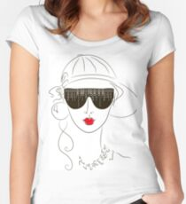 girl with sunglasses Women's Fitted Scoop T-Shirt