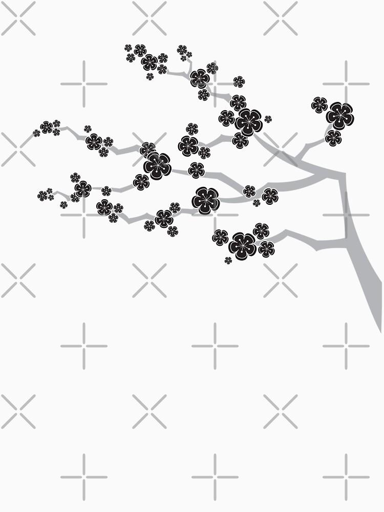 Black Oriental Cherry Blossoms | Zen Japanese Sakura Flowers | Women's T-Shirt