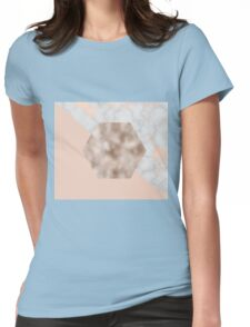 Soft rose gold hexagonal Womens Fitted T-Shirt