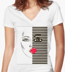 Fashion girl Women's Fitted V-Neck T-Shirt