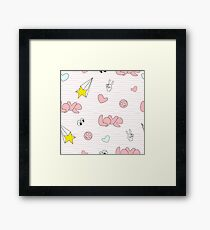 pink girl icons in pop art style Framed Print