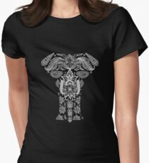 Floral Elephant Women's Fitted T-Shirt