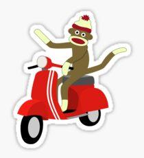 Sock Monkey Vespa Scooter Sticker