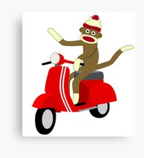 Sock Monkey Vespa Scooter Canvas Print