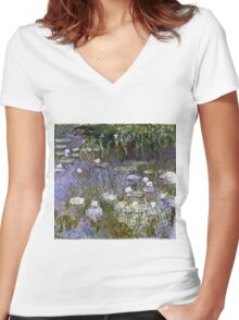Claude Monet - Water Lilies 1922 Women's Fitted V-Neck T-Shirt