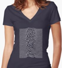 CP 1919 - Joy Division Unknown Pleasures: White on clear Women's Fitted V-Neck T-Shirt