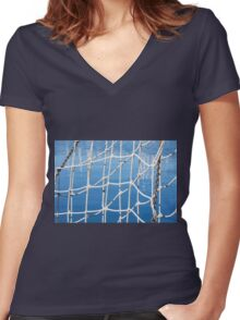 nets on the boat at the port Women's Fitted V-Neck T-Shirt