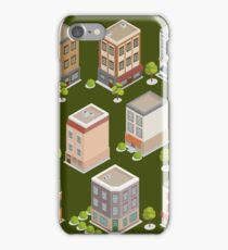 Isometric City Buildings Set. European Houses with Trees and Plants iPhone Case/Skin