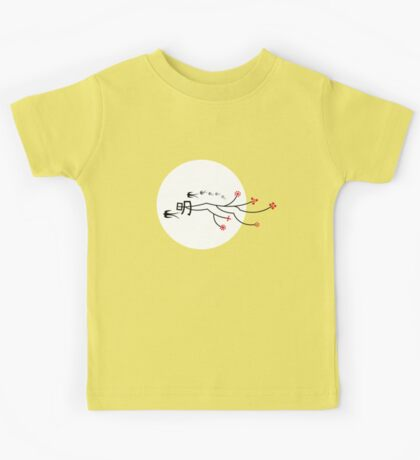 Oriental Swallows And The Bright Round Moon On Red Kids Clothes